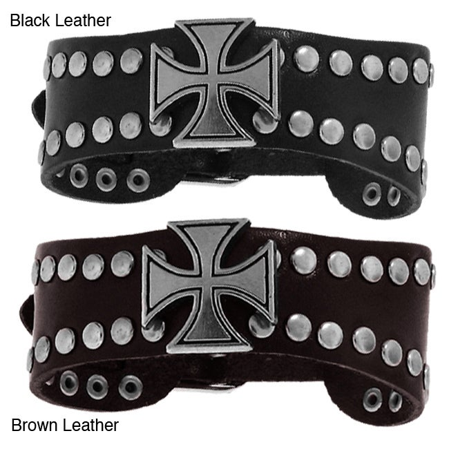 Genuine Leather and Silver Tone Brass Iron Cross Accent Wide Bracelet