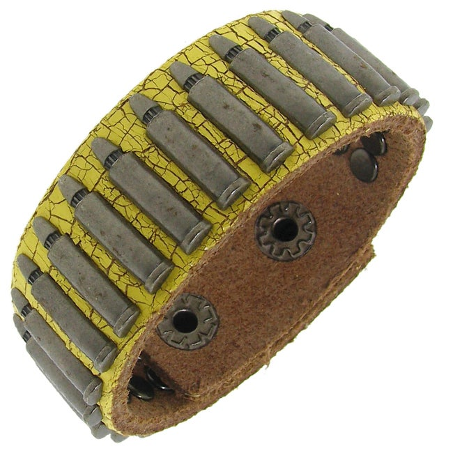 Distressed Yellow Leather and Silvertone Bullet Accent Bracelet