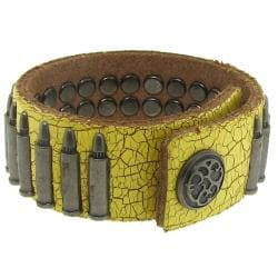 Distressed Yellow Leather and Silvertone Bullet Accent Bracelet - Thumbnail 1
