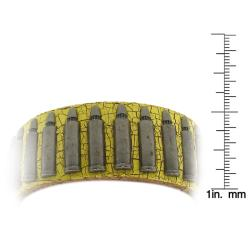 Distressed Yellow Leather and Silvertone Bullet Accent Bracelet - Thumbnail 2