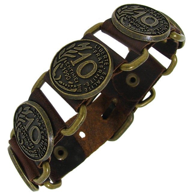 Genuine Brown Leather and Gold Tone Brass Coin Accent Bracelet