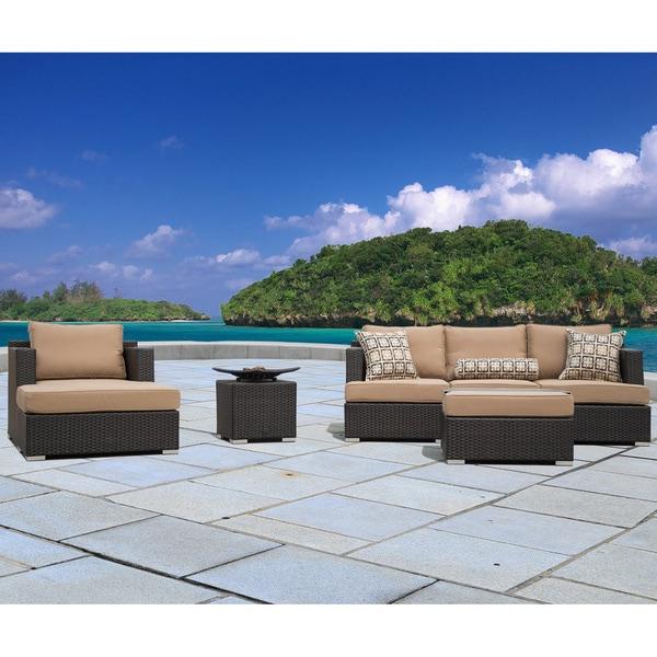 Corvus Morgan Outdoor 7-piece Brown Wicker Sectional Sofa Set