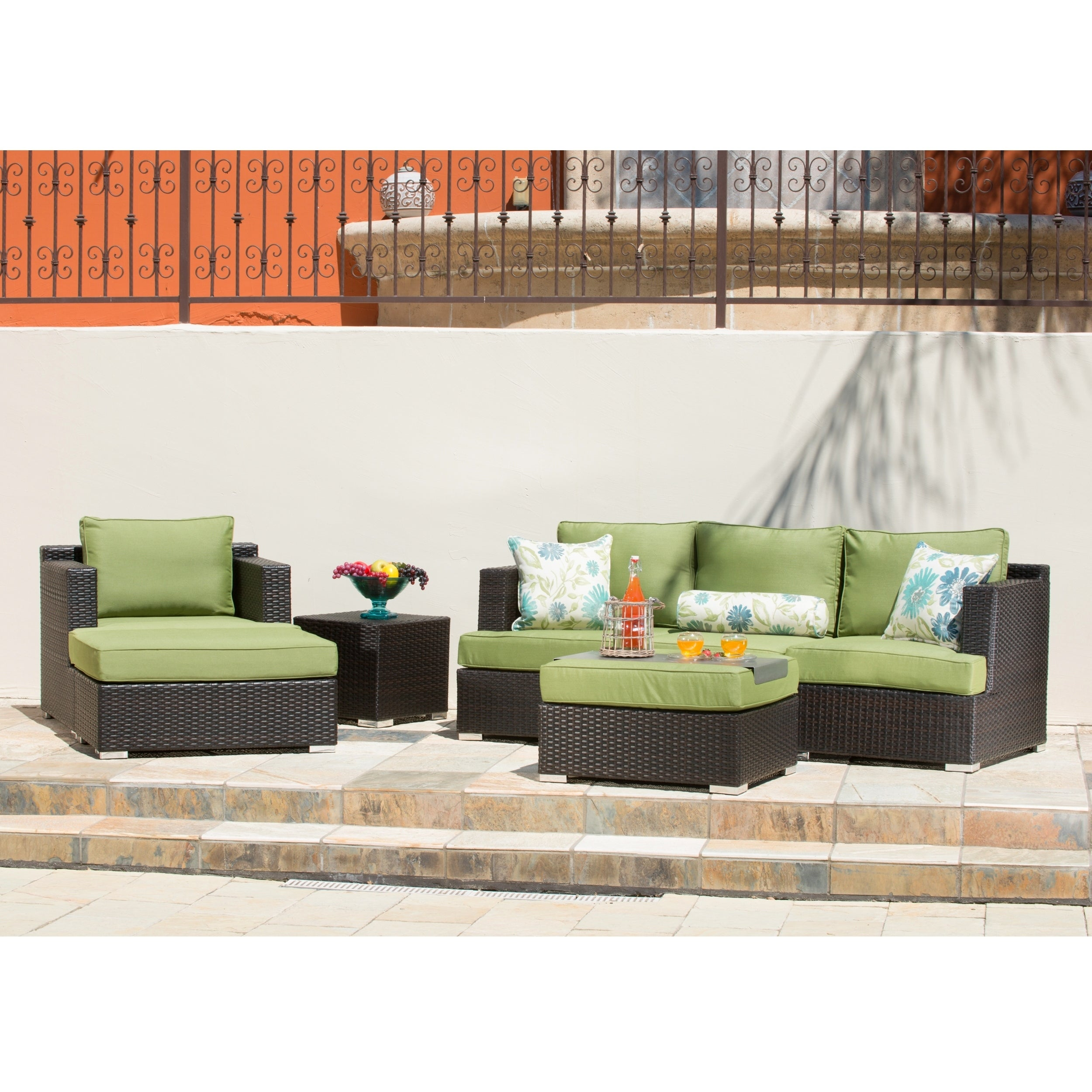 Corvus Morgan Outdoor 7-piece Brown Wicker Sectional Sofa Set with  Sunbrella Cushions