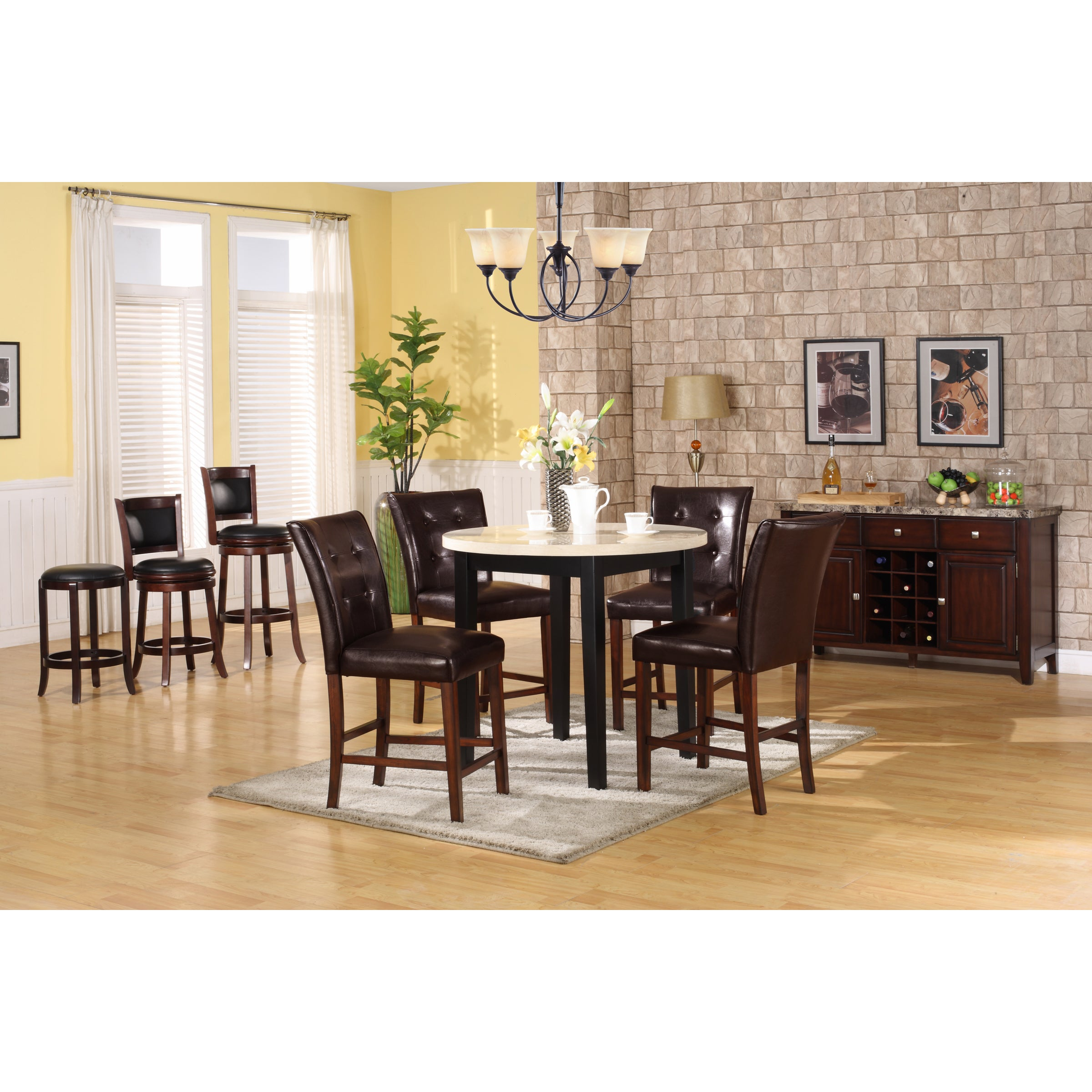Radian White Faux-marble Table with Brown Barstools