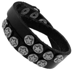 Genuine Leather and Silvertone Star Accents Bracelet