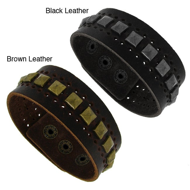Genuine Leather Wide Cuff and Silvertone Pyramid Studs Cuff - Thumbnail 0