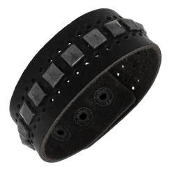 Genuine Leather Wide Cuff and Silvertone Pyramid Studs Cuff - Thumbnail 1