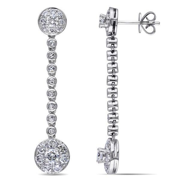 Miadora Signature Collection 14k White Gold 1 7/8ct TDW Diamond Drop Earrings