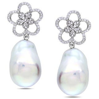 Miadora Signature Collection 14k White Gold Cultured Freshwater Pearl 1ct TDW Diamond Earrings (G-H, SI1-SI2) (17-17.