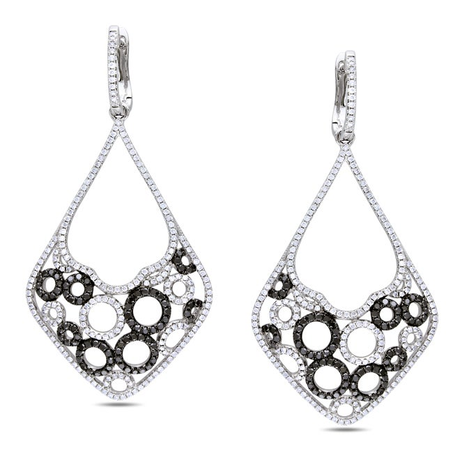Miadora Signature Collection 14k Gold 2 1/6ct TDW Black and White Diamond Earrings (G-H, SI1-SI2)
