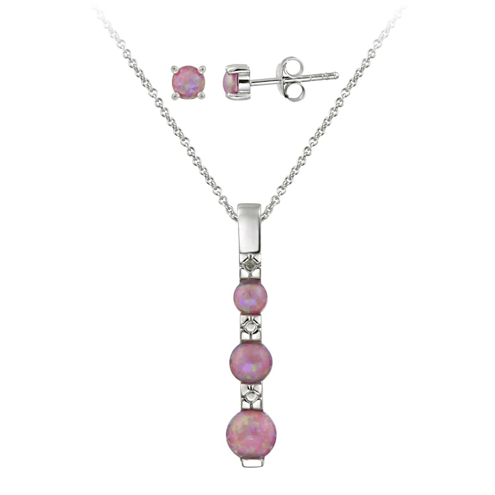 Shop Glitzy Rocks Silver Diamond Accent Created Pink Opal Past Present Future Jewelry Set - On Sale - Free Shipping On Orders Over $45 - Overstock - 6793742