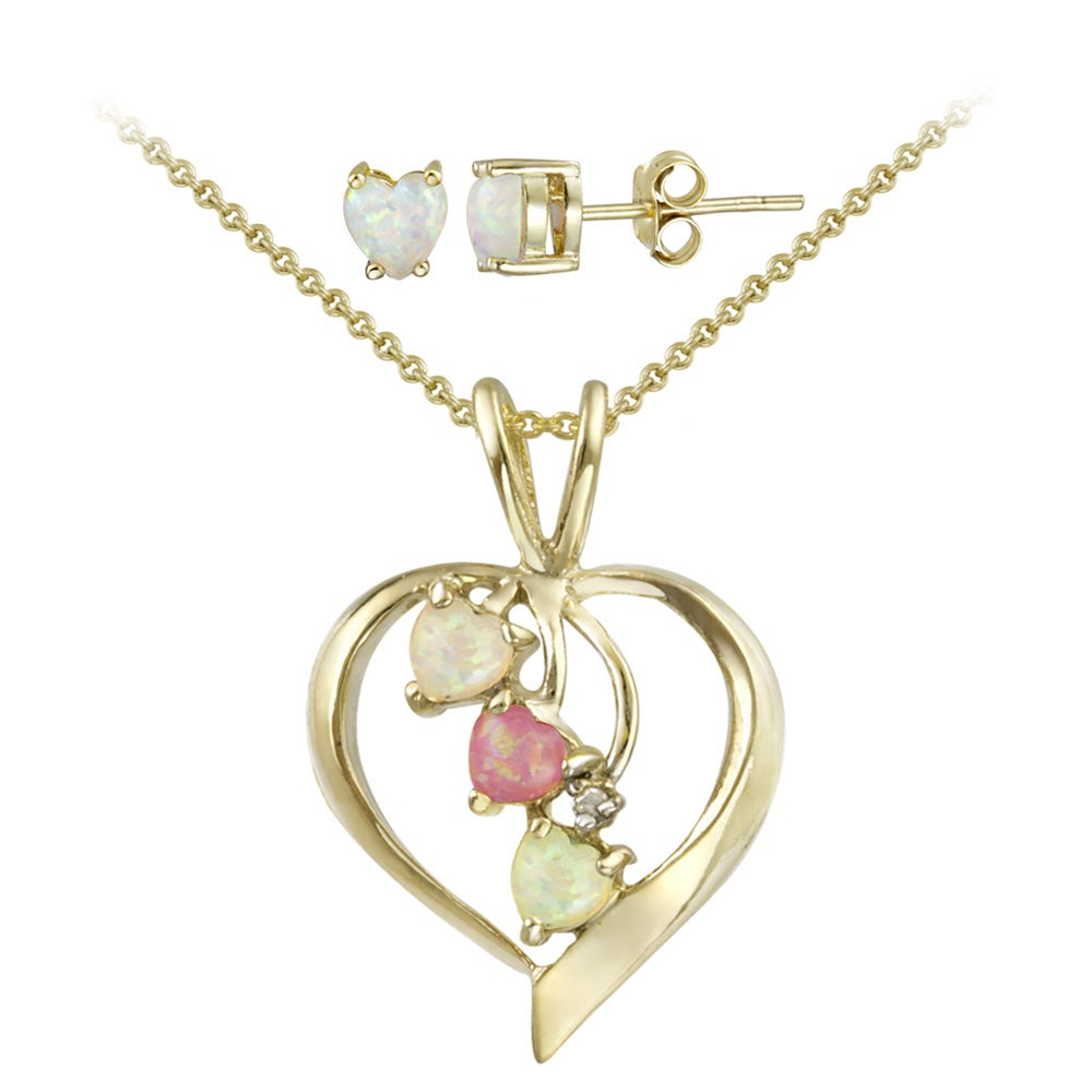 Glitzy Rocks Gold Overlay Diamond Accent and Created Opal Heart Jewelry Set