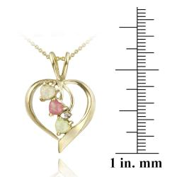 Glitzy Rocks Gold Overlay Diamond Accent and Created Opal Heart Jewelry Set - Thumbnail 1