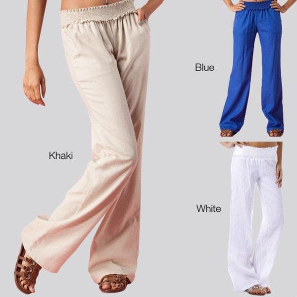 Tabeez Women's Smocked Waist Linen Pant