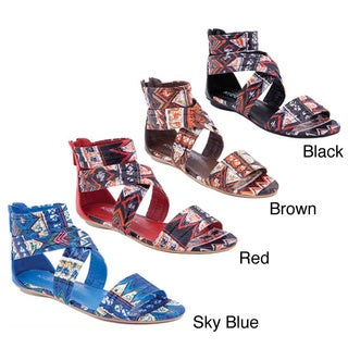 I-Comfort Women's Aztec Sparkle Wrap Sandals
