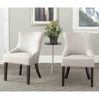 Safavieh En Vogue Dining Loire Beige Linen Nailhead Dining Chairs (Set of 2)