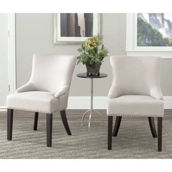 Safavieh En Vogue Dining Loire Beige Linen Nailhead Side Chairs (Set of 2)