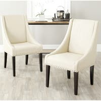 Safavieh En Vogue Dining Sloping Arm Taupe Nailhead Dining Chairs (Set of 2)