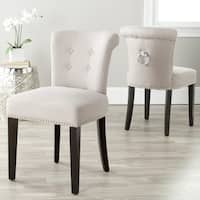 Safavieh Carrie Taupe Linen Side Chairs (Set of 2)