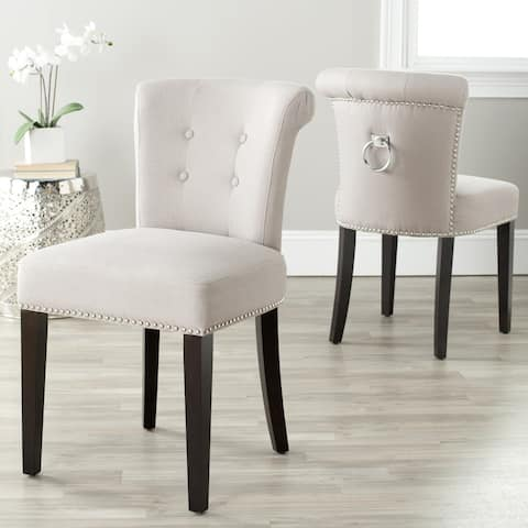 "SAFAVIEH Dining Carrie Taupe Linen Dining Chairs (Set of 2) - 19.5"" x 24.2"" x 33.4"" - 19.5"" x 24.2"" x 33.4"""