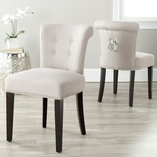 """Safavieh Dining Carrie Taupe Linen Dining Chairs (Set of 2) - 19.5"""" x 24.2"""" x 33.4"""""""