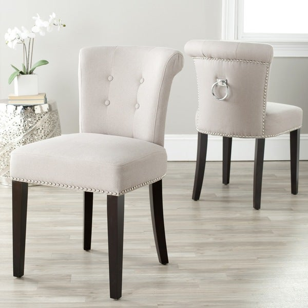 """Safavieh Dining Carrie Taupe Linen Dining Chairs (Set of 2) - 19.5"""" x 24.2"""" x 33.4"""" - 19.5"""" x 24.2"""" x 33.4"""". Opens flyout."""