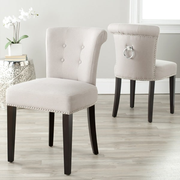 Safavieh En Vogue Dining Carrie Taupe Linen Side Chairs (Set of 2)