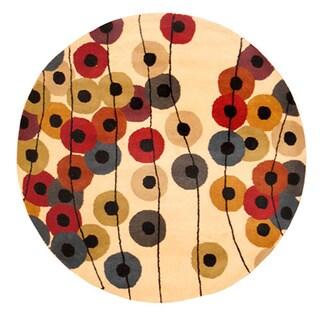 Herat Oriental Indo Hand-tufted Wool Round Rug (6' x 6')
