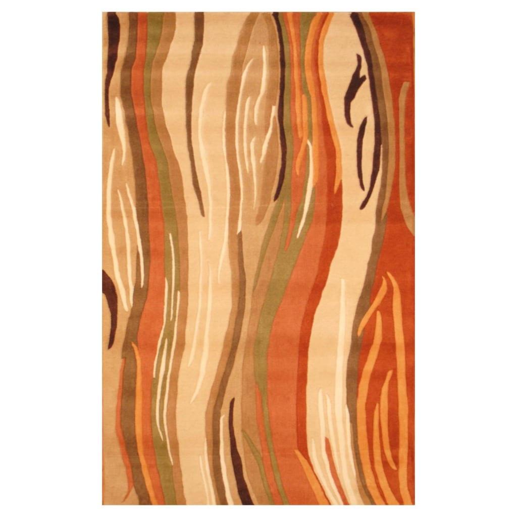 Indo Hand-tufted Beige/ Orange Wool Rug (5' x 8')