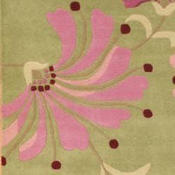 Herat Oriental Indo Hand-tufted Tibetan Green/ Pink Wool Rug (6' x 6')