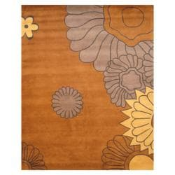 Herat Oriental Indo Hand-tufted Tibetan Grey/ Yellow Wool Rug (8' x 10')