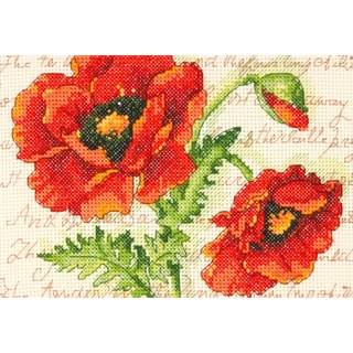 """Poppy Pair Mini Counted Cross Stitch Kit-7""""X5"""" 14 Count"""