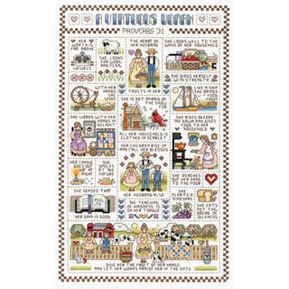 "A Virtuous Woman Counted Cross Stitch Kit-9-1/4""X15-1/4"" 14 Count"