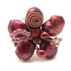 Handmade Freshwater Dyed Maroon Pearl Flower Adjustable Ring (Thailand)