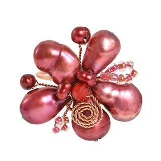 Handmade Freshwater Dyed Maroon Pearl Flower Adjustable Ring (Thailand)