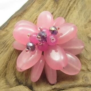 Handmade Mystic Lotus Rose Quartz Floral Pin/ Brooch (Thailand)