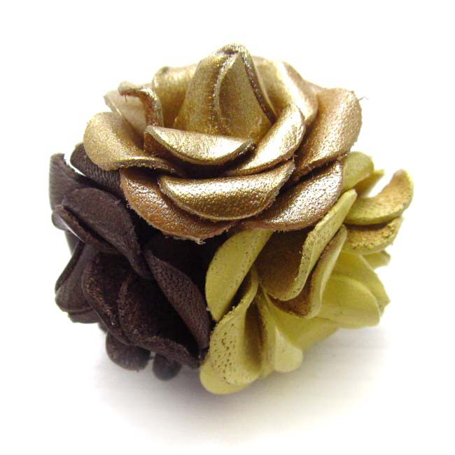 Handmade Classy Floral Bouquet 'Yellow Brown Gold' Mix Ring (Thailand)