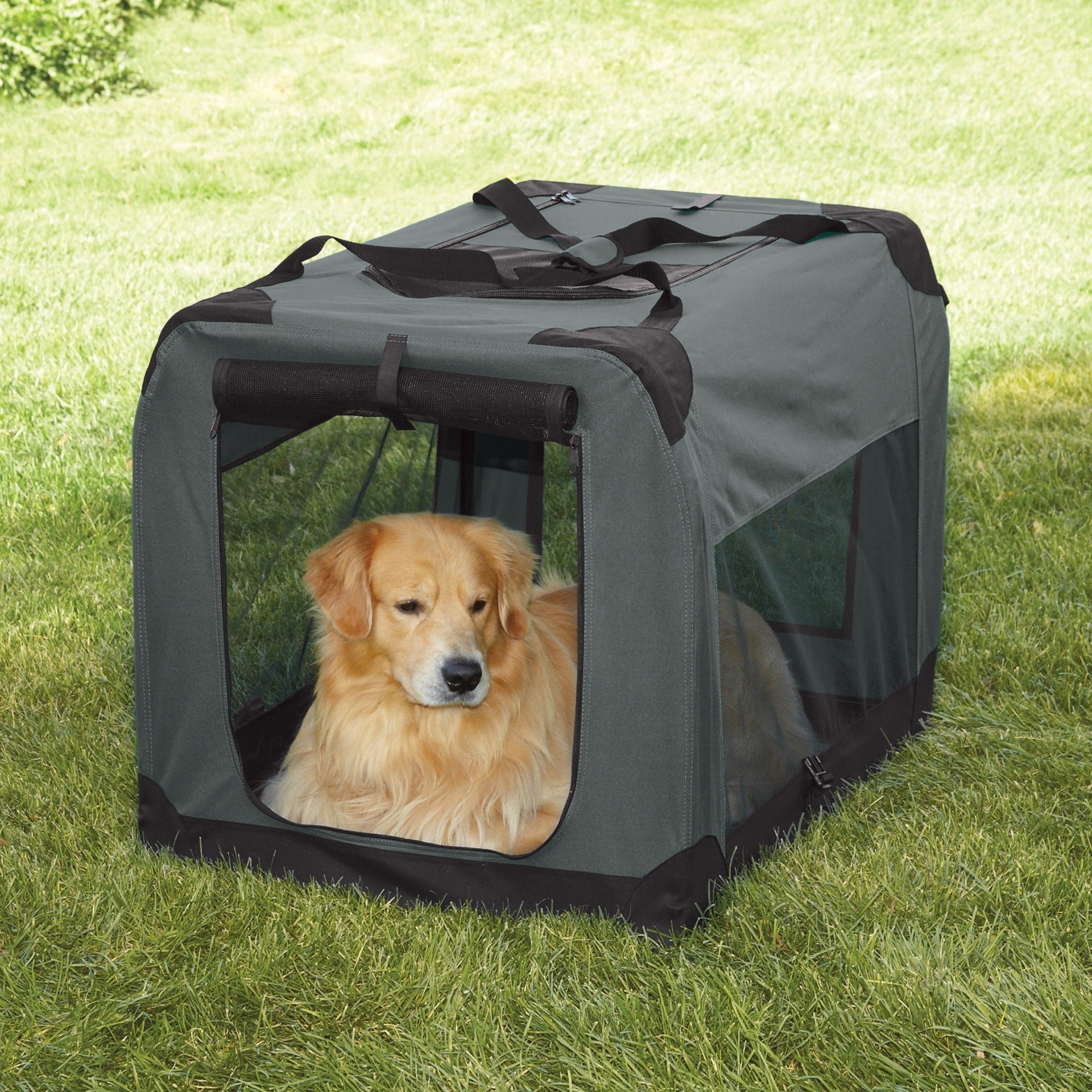 Guardian Gear Grey Large Soft-sided Collapsible Crate (ZA...