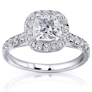 Annello 14k White Gold 1 2/5ct TDW Diamond Engagement Ring