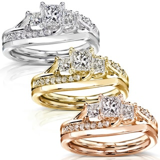 Annello by Kobelli 14k Gold 1ct TDW Diamond Bridal Rings Set
