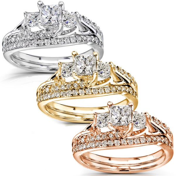 Annello 14k Gold 1-1/10ct TDW Diamond Bridal Rings Set