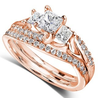 Annello by Kobelli 14k Gold 1-1/10ct TDW Diamond Bridal Rings Set (H-I, I1-I2)
