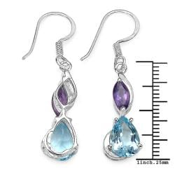 Malaika Sterling Silver 5ct TGW Blue Topaz and Amethyst Earrings - Thumbnail 2