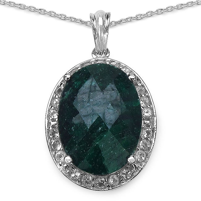 Malaika Sterling Silver 22 3/8ct TGW Emerald and White Topaz Necklace