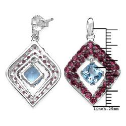 Malaika Sterling Silver 5 1/3ct TGW Blue Topaz and Rhodolite Earrings - Thumbnail 2