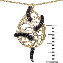 Malaika Gold over Silver 7/8ct TGW Ruby and Black Spinel Necklace