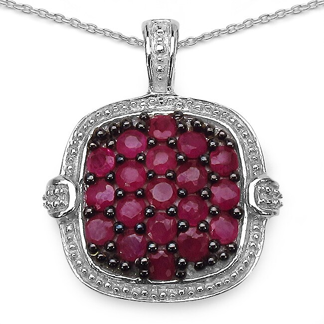 Malaika Sterling Silver 1 1/2ct TGW Ruby Necklace