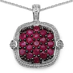 Malaika Sterling Silver 1 1/2ct TGW Ruby Necklace