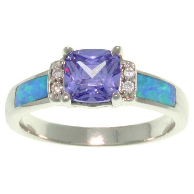 Carolina Glamour Collection Sterling Silver Cubic Zirconia and Created Opal Ring