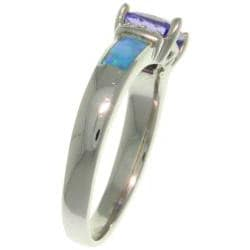 Carolina Glamour Collection Sterling Silver Cubic Zirconia and Created Opal Ring - Thumbnail 1